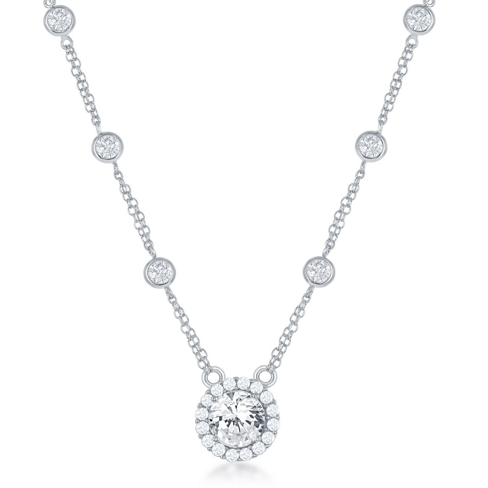 Sterling Silver CZ By The Yard With Large Round CZ Necklace
