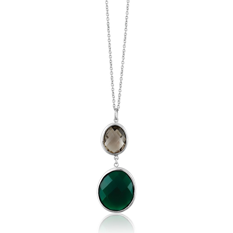 Sterling Silver Smoky Quartz With Large Green Onyx Gemstone Necklace