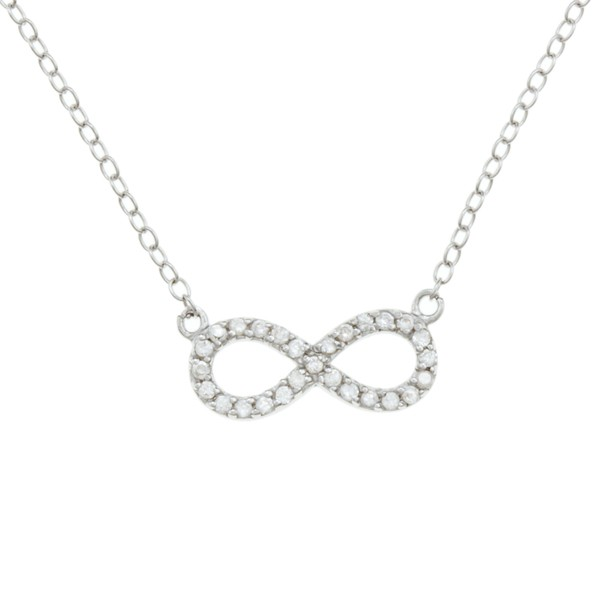 Sterling Silver Small CZ Reversible Infinity Necklace