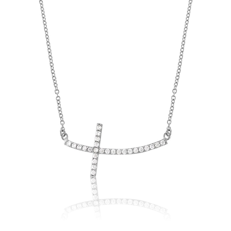 Sterling Silver CZ Curved Sideways Cross Necklace
