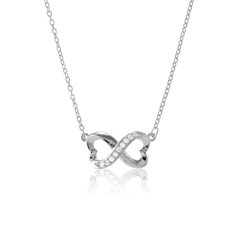Sterling Silver Half CZ Heart Infinity Necklace
