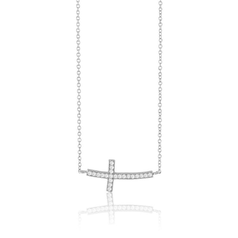 Sterling Silver CZ Rhodium Curved Sideways Cross Necklace