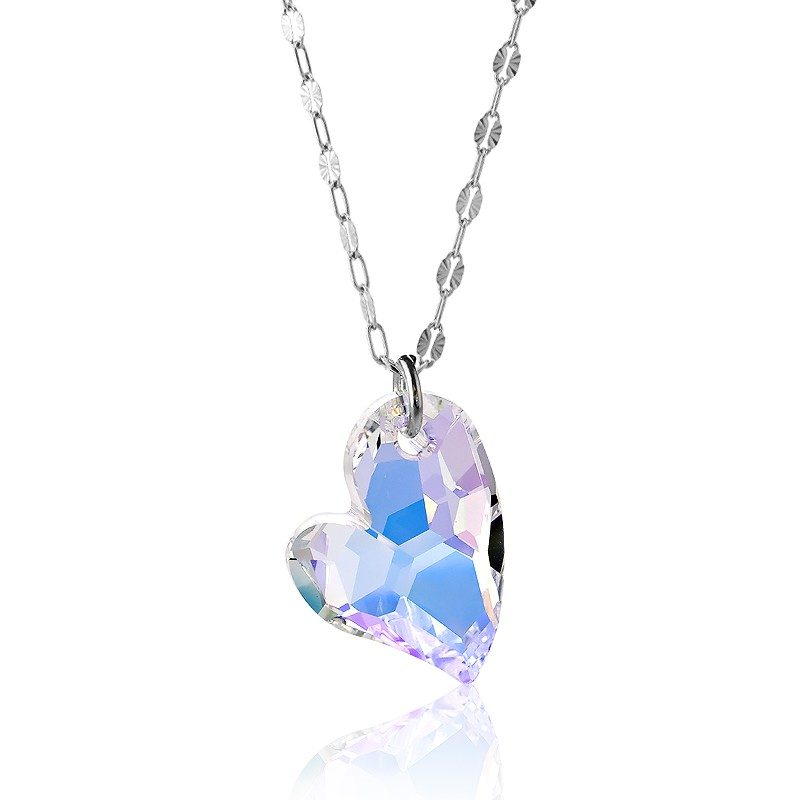 Sterling Silver  Faceted Large AB Heart Swarovski Necklace