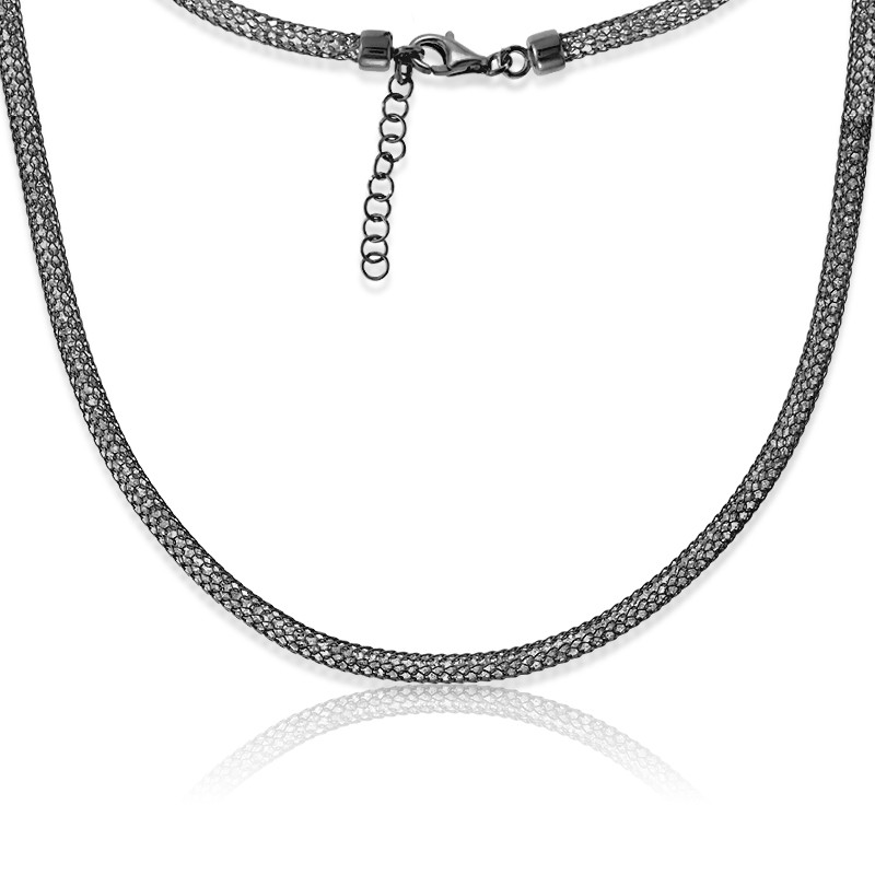 Sterling Silver Black Rhodium Crystal Filled Mesh Necklace