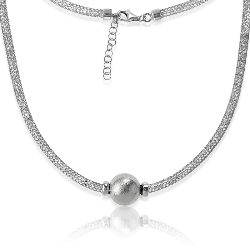 Sterling Silver  Crystal Filled Mesh With Large Center Bead Necklace