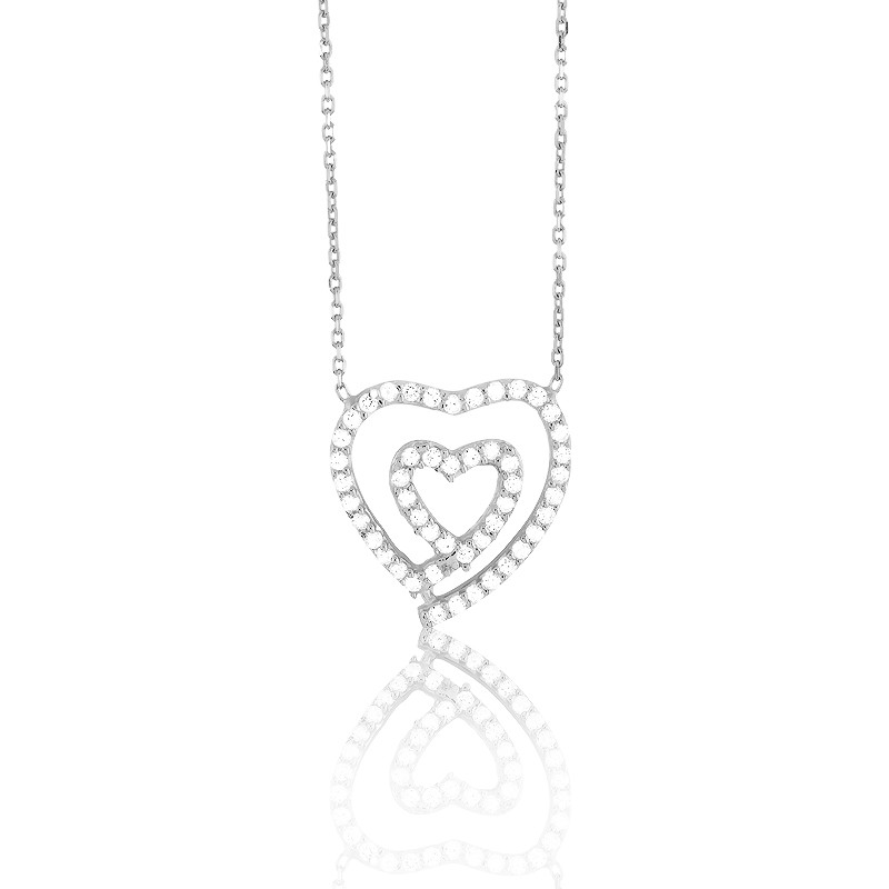 Sterling Silver Open CZ Heart Within an Open CZ Heart Necklace