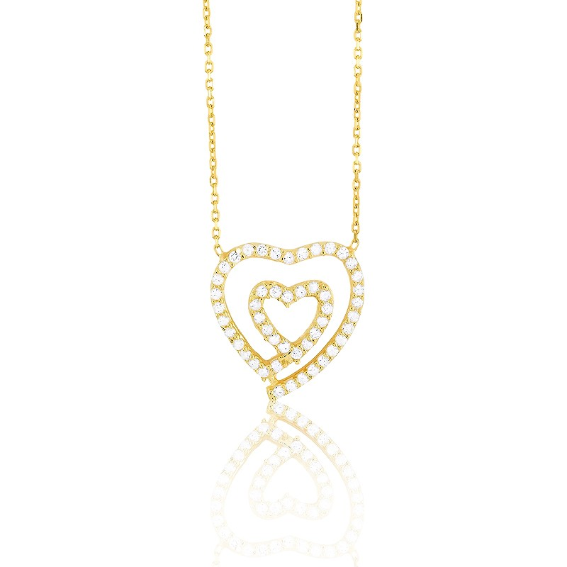 Sterling Silver  GP Open CZ Heart Within an Open CZ Heart Necklace