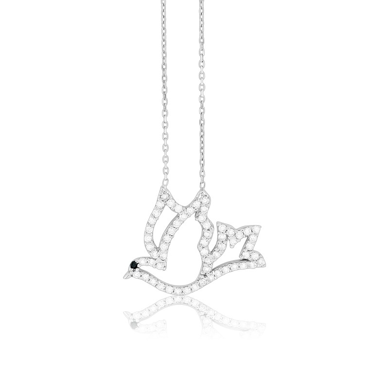 Sterling Silver  Open CZ Dove Necklace