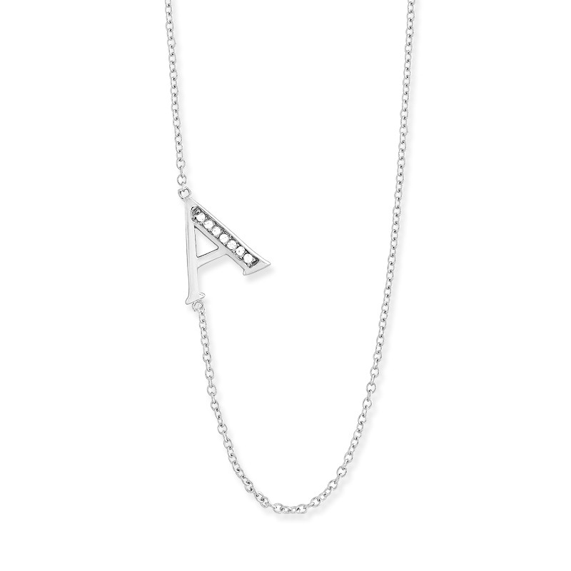 Sterling Silver Off-Center CZ A Necklace