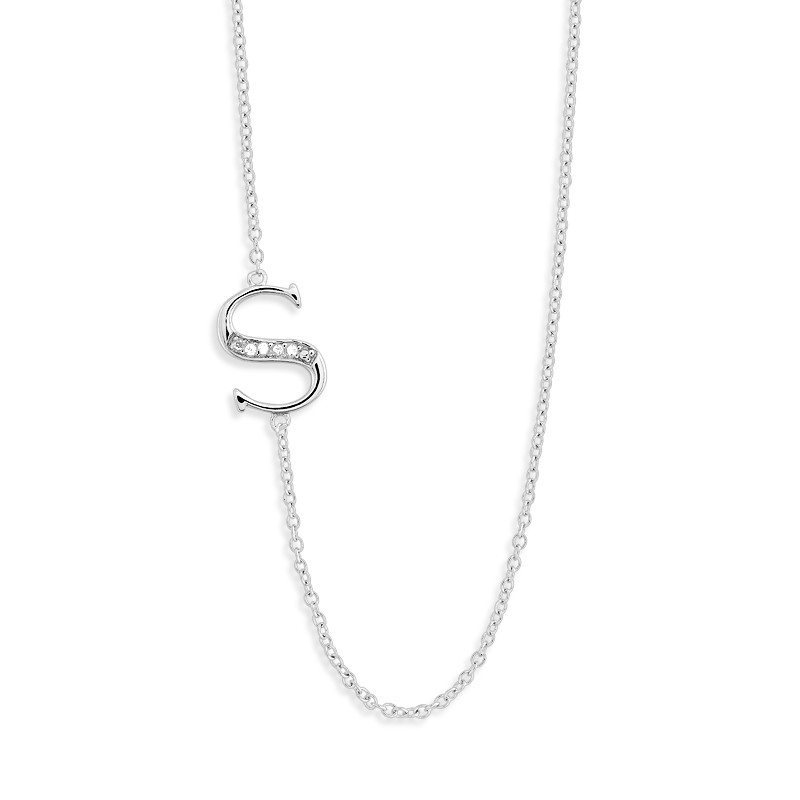 Sterling Silver Off-Center CZ S Necklace