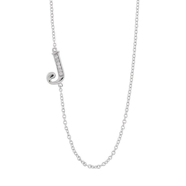 Sterling Silver Off-Center CZ J Necklace