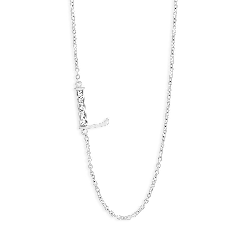 Sterling Silver 16+2 Off-Center CZ L Necklace