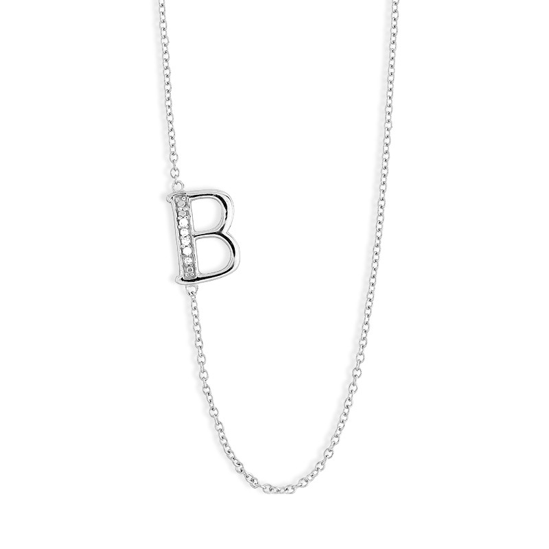 Sterling Silver Off-Center CZ B Necklace