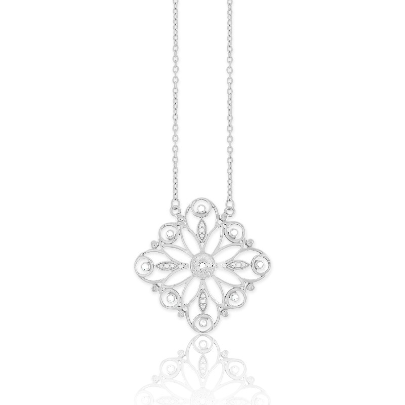 Sterling Silver  Square 1-10ct Diamond Necklace