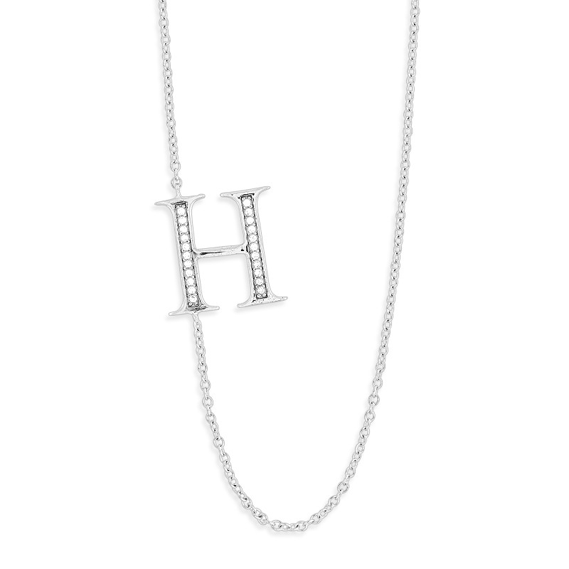 Sterling Silver Off-Center CZ H Necklace