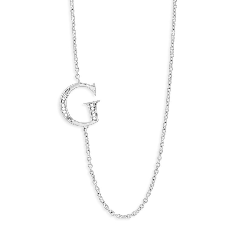 Sterling Silver Off-Center CZ G Necklace