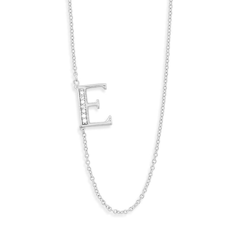 Sterling Silver Off-Center CZ E Necklace