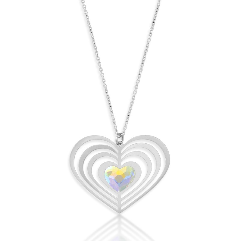 Sterling Silver  3D Open Heart With Faceted AB Swarovski Crystal Center Heart Necklace