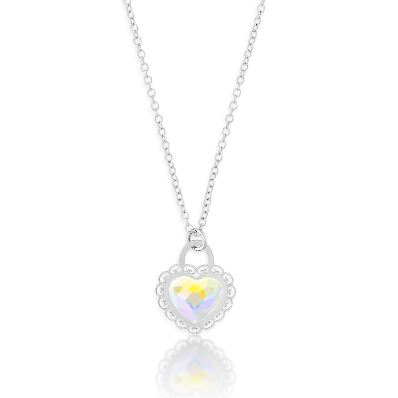 Sterling Silver Small Heart With Faceted AB Swarovski Crystal Center Heart Necklace