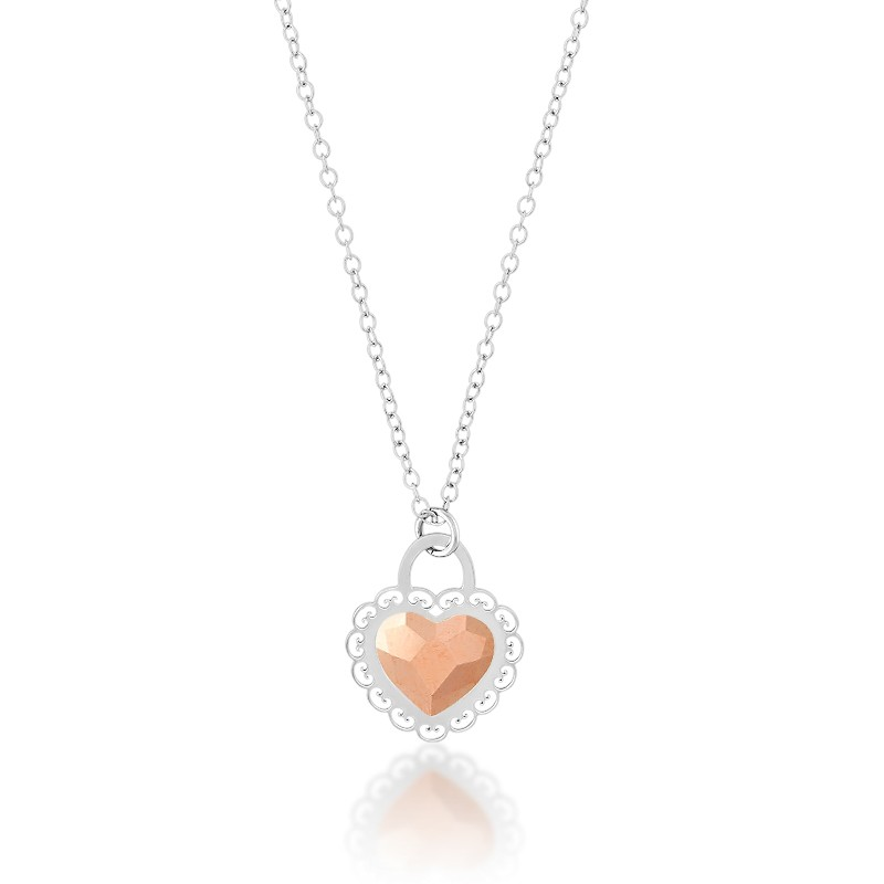 Sterling Silver  Small Heart With Faceted Pink Swarovski Crystal Center Heart Necklace