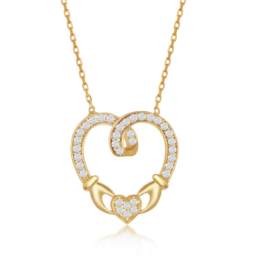 Sterling Silver CZ Claddagh Style Heart Necklace - Gold Plated