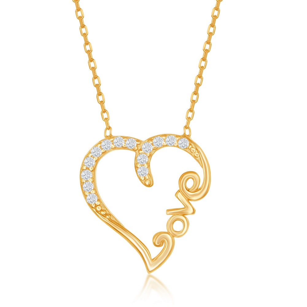 Sterling Silver CZ Open Heart With LOVE Necklace - Gold Plated