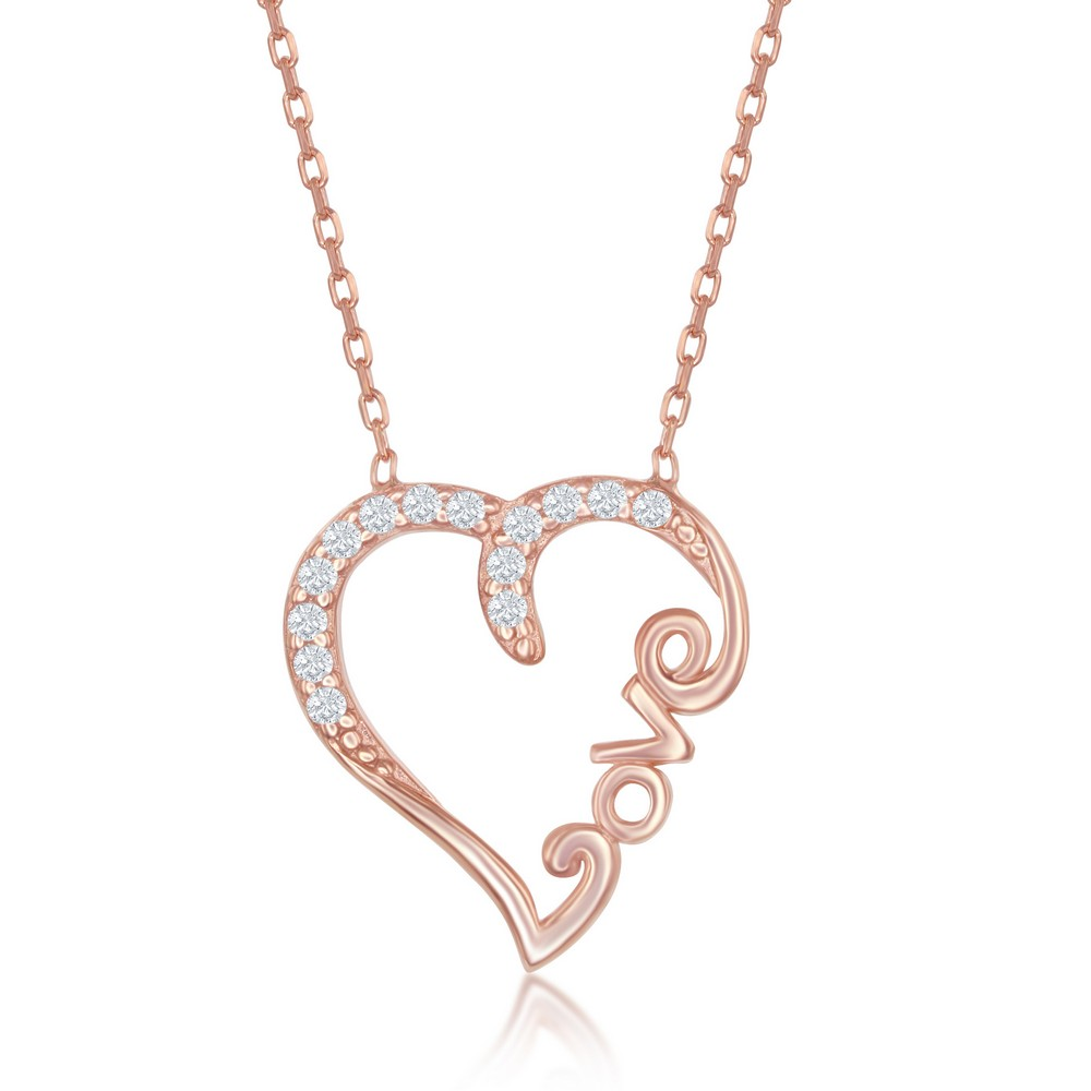 Sterling Silver CZ Open Heart With LOVE Necklace - Rose Gold Plated