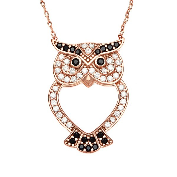 Sterling Silver CZ Open Owl Necklace - Rose Gold Plated
