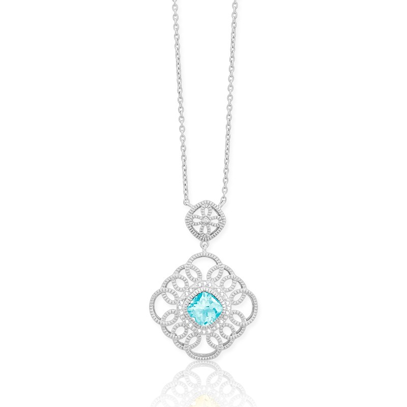 (SPECIAL ORD) Sterling Silver Diamonds with Center Blue Topaz Double Square Necklace