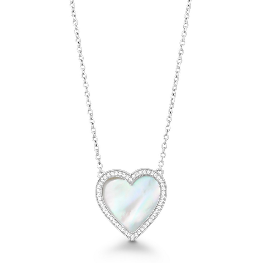 Sterling Silver 16+2 CZ Outline Heart with White MOP Necklace