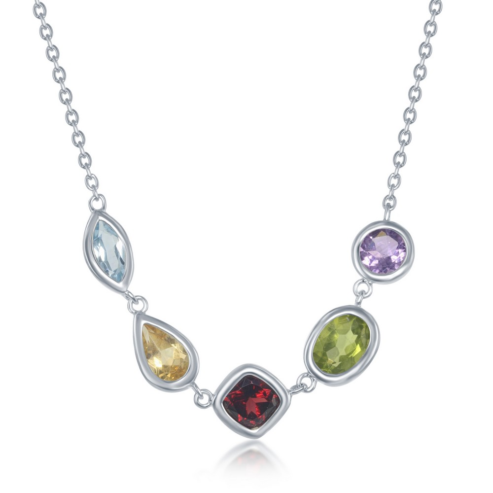 Sterling Silver 16+2 Multicolored Gemstone Center Linked Necklace