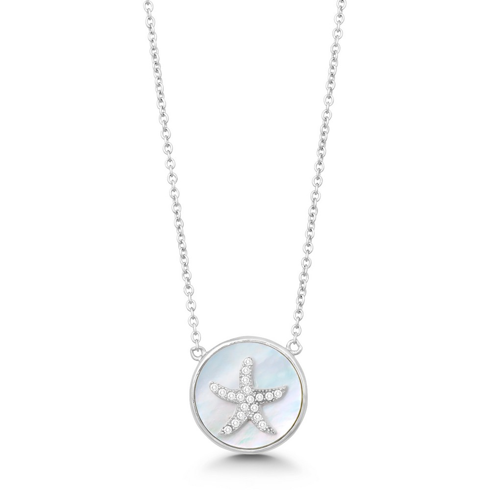 Sterling Silver Round MOP with Center CZ Starfish Necklace