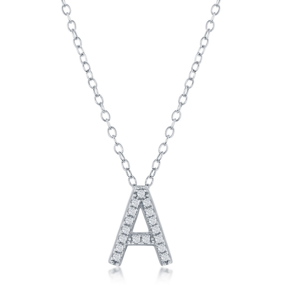 Sterling Silver Micro Pave A Pendant Necklace