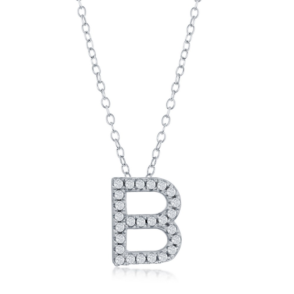 Sterling Silver Micro Pave B Pendant Necklace