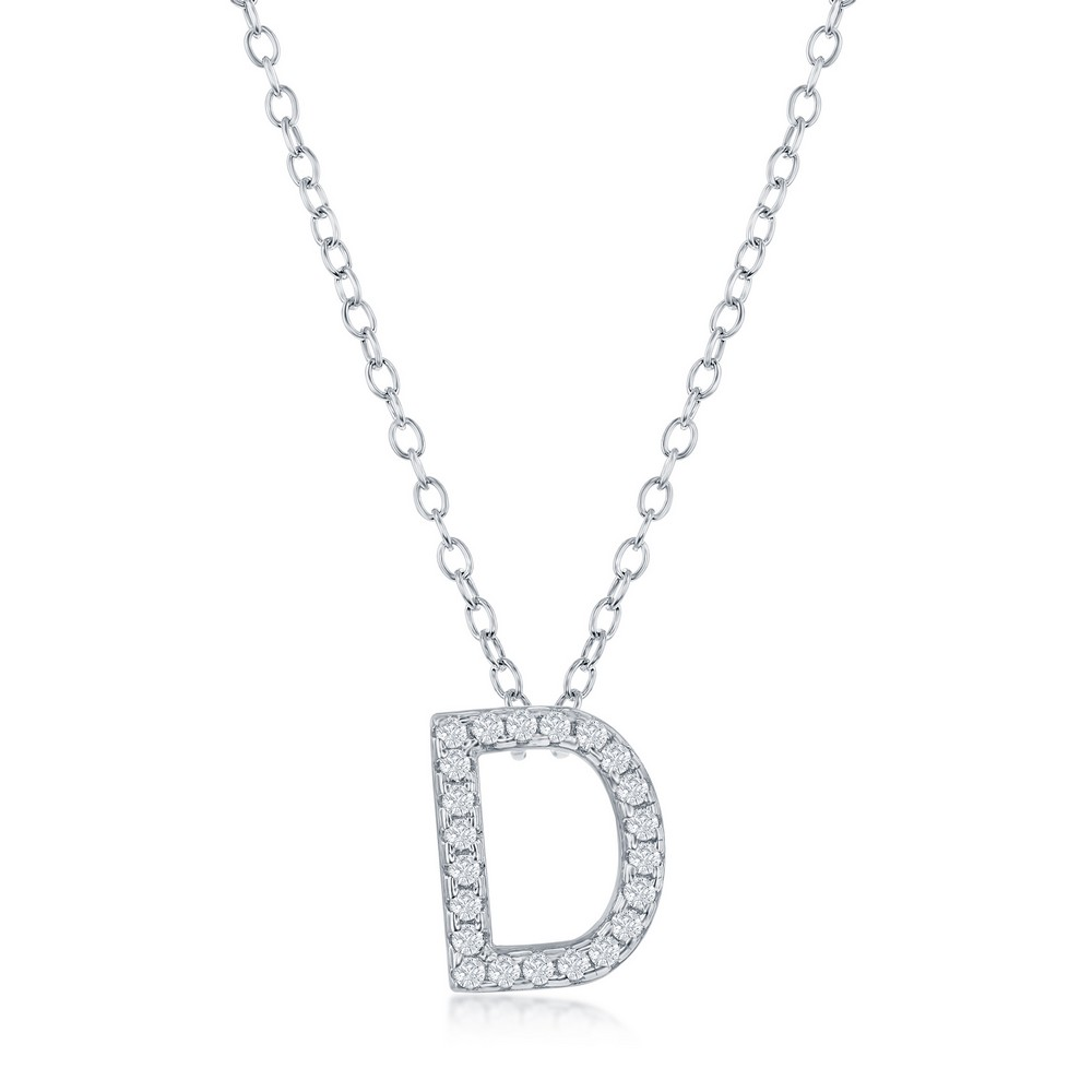 Sterling Silver Micro Pave D Pendant Necklace