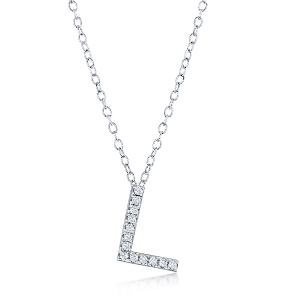 Sterling Silver Micro Pave L Pendant Necklace