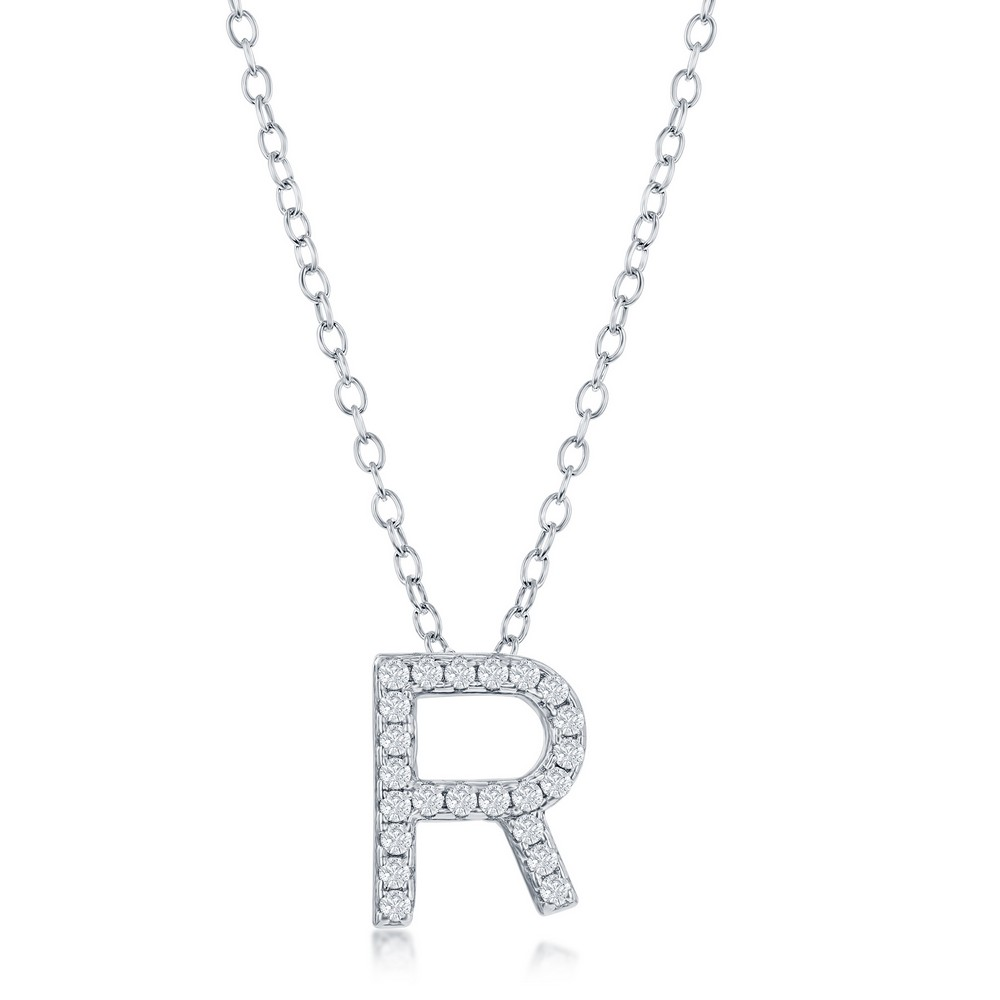 Sterling Silver Micro Pave R Pendant Necklace