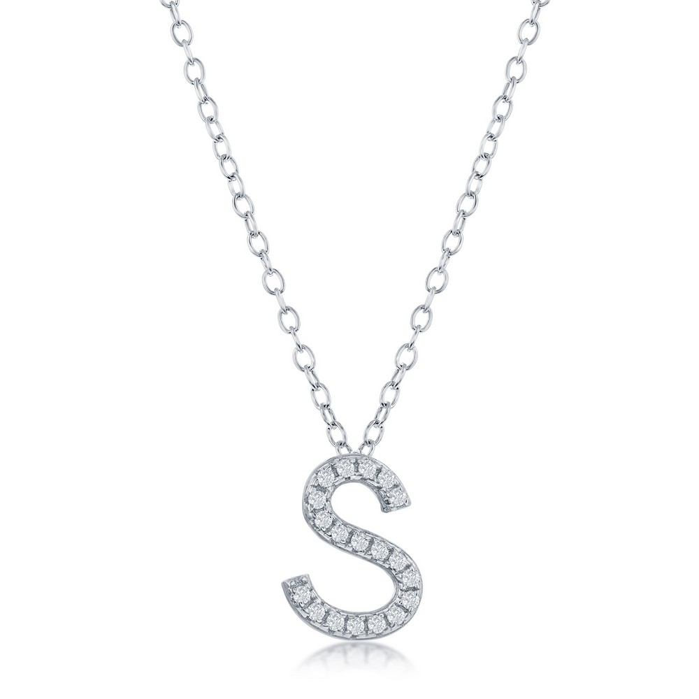 Sterling Silver Micro Pave S Pendant Necklace