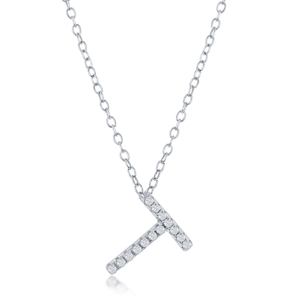 Sterling Silver Micro Pave T Pendant Necklace