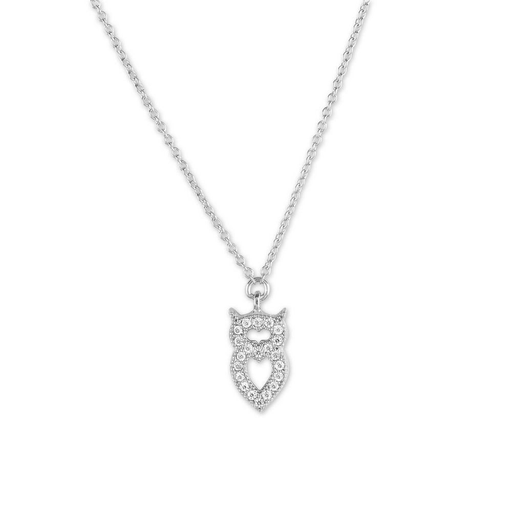 Sterling Silver Small Micro Pave Owl Necklace