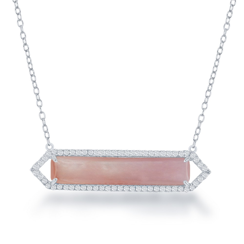 Sterling Silver Pink MOP with CZ Border Bar Necklace