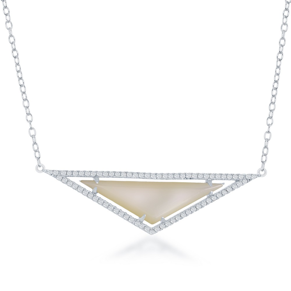 Sterling Silver  White MOP with CZ Border Triangle Necklace