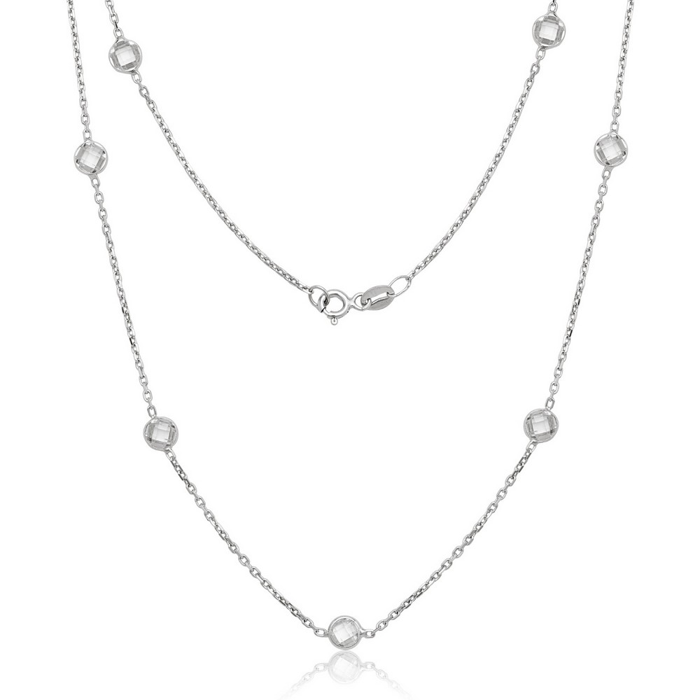 Sterling Silver Bezel Set Faceted CZ By The Yard Necklace