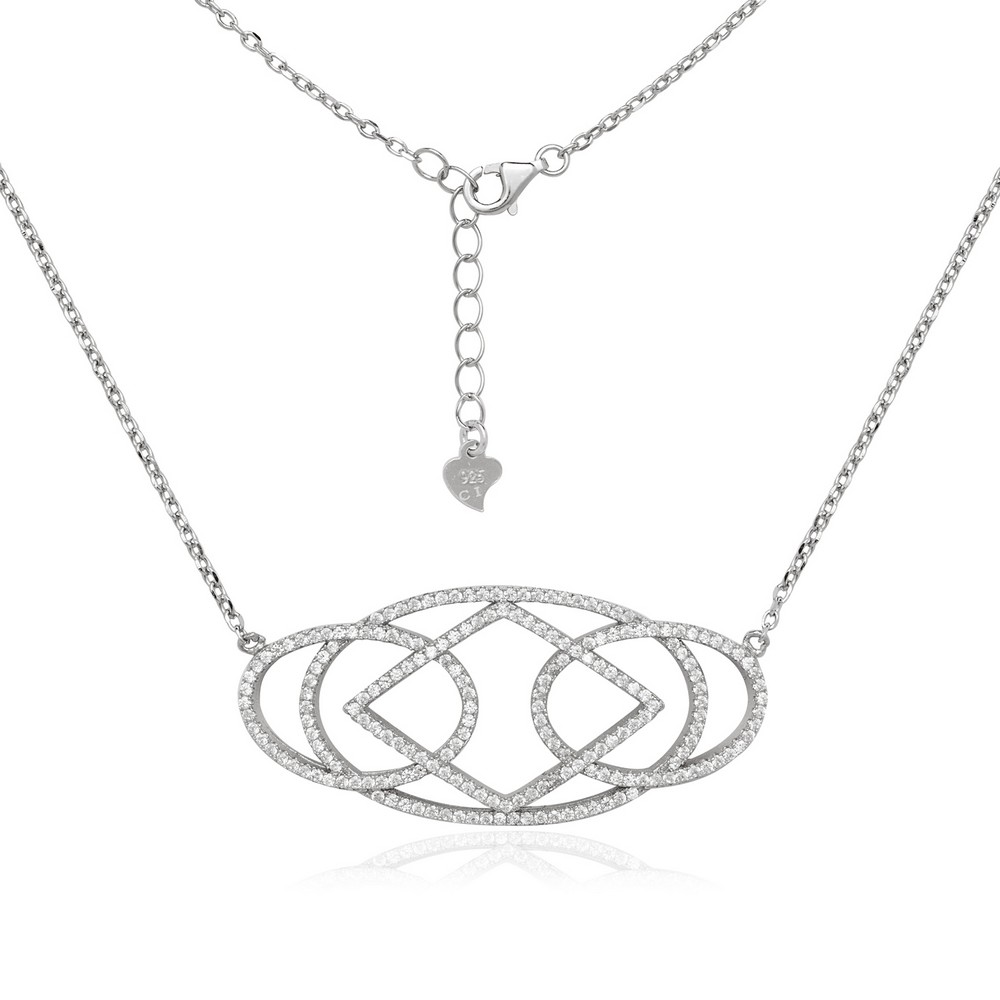 Sterling Silver Large CZ Micro Pave Necklace