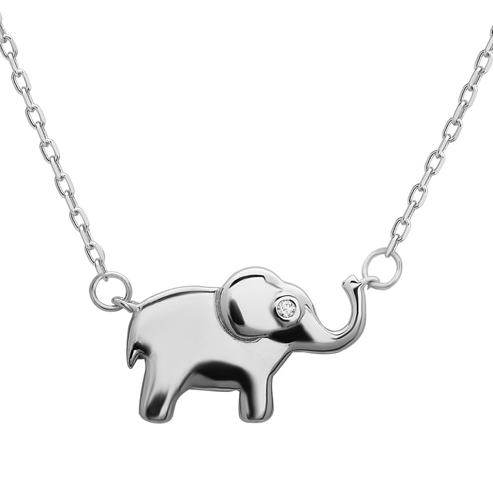 Sterling Silver Small Elephant with CZ Eye Necklace