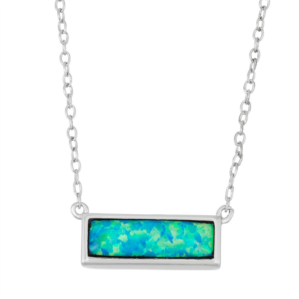 Sterling Silver 16+2 Blue Inlay Opal Small Bar Necklace