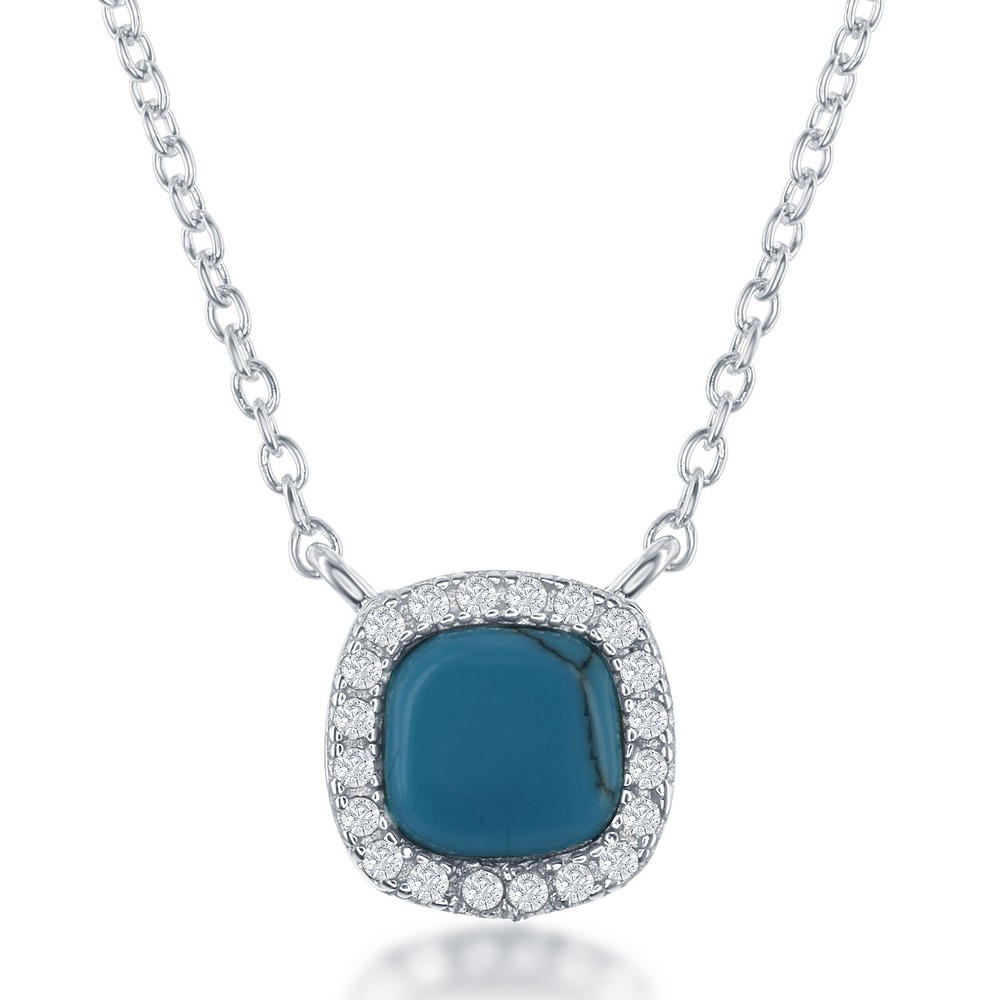 Sterling Silver Small Square Turquoise with CZ Border Necklace