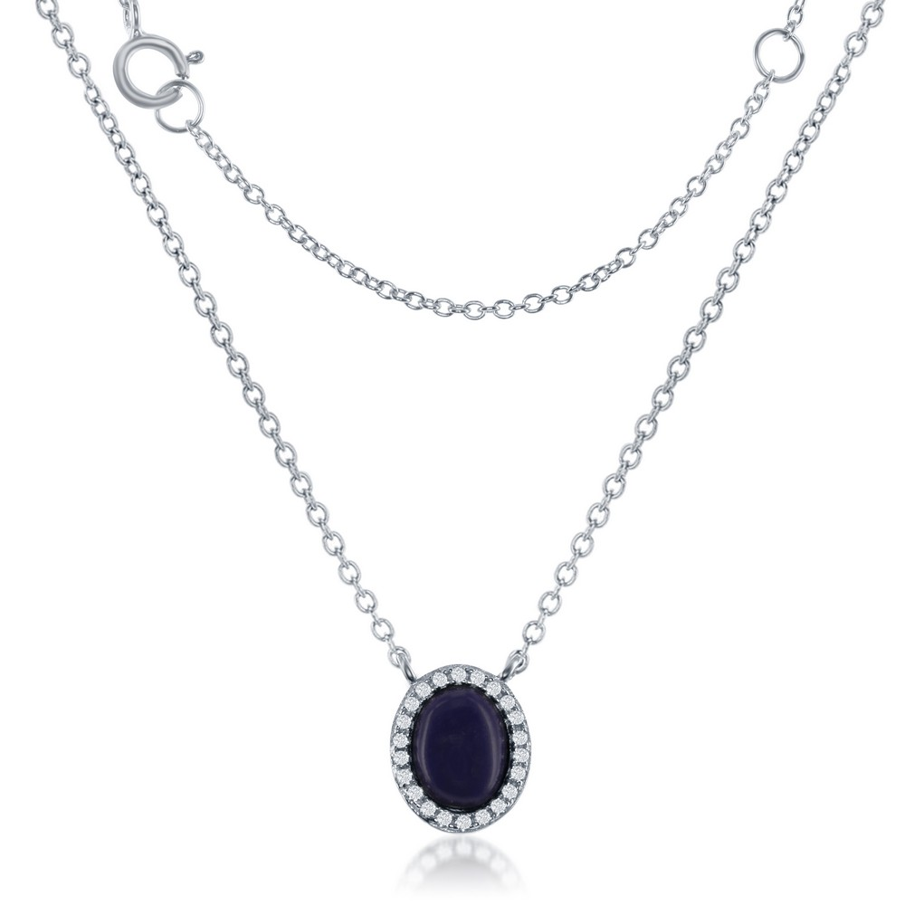 Sterling Silver Small Oval Navy Lapis with CZ Border Necklace
