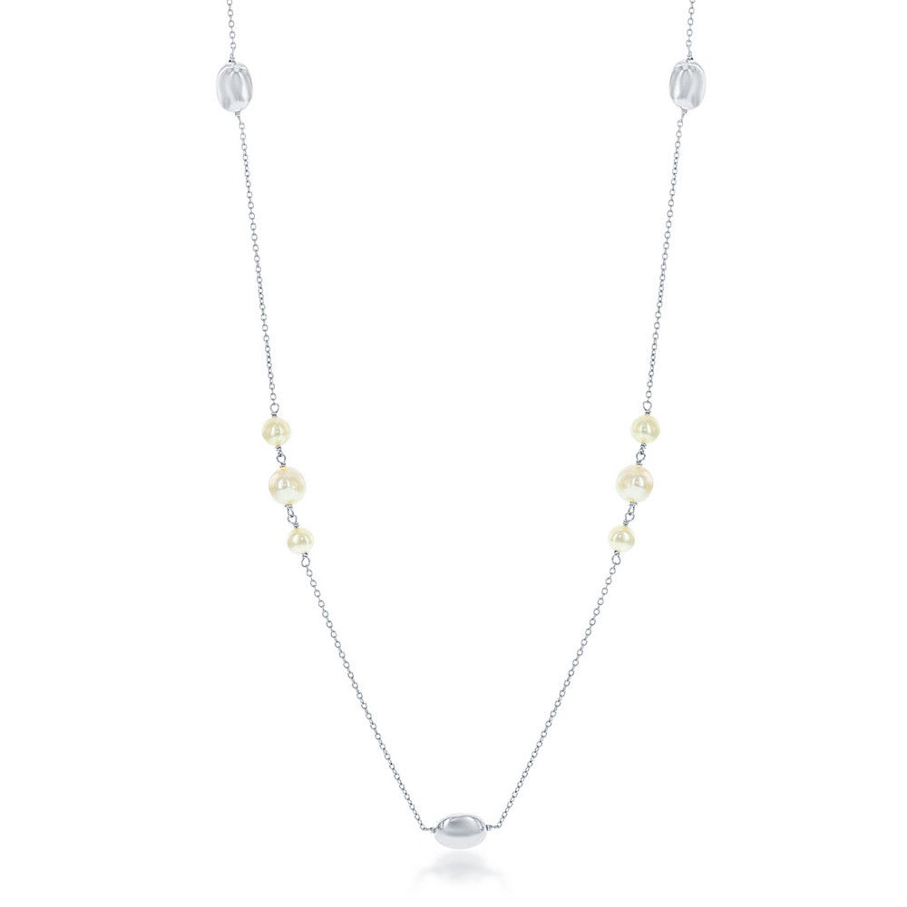 Sterling Silver Small Round Freshwater Pearls with Shiny Oval Beads Necklace