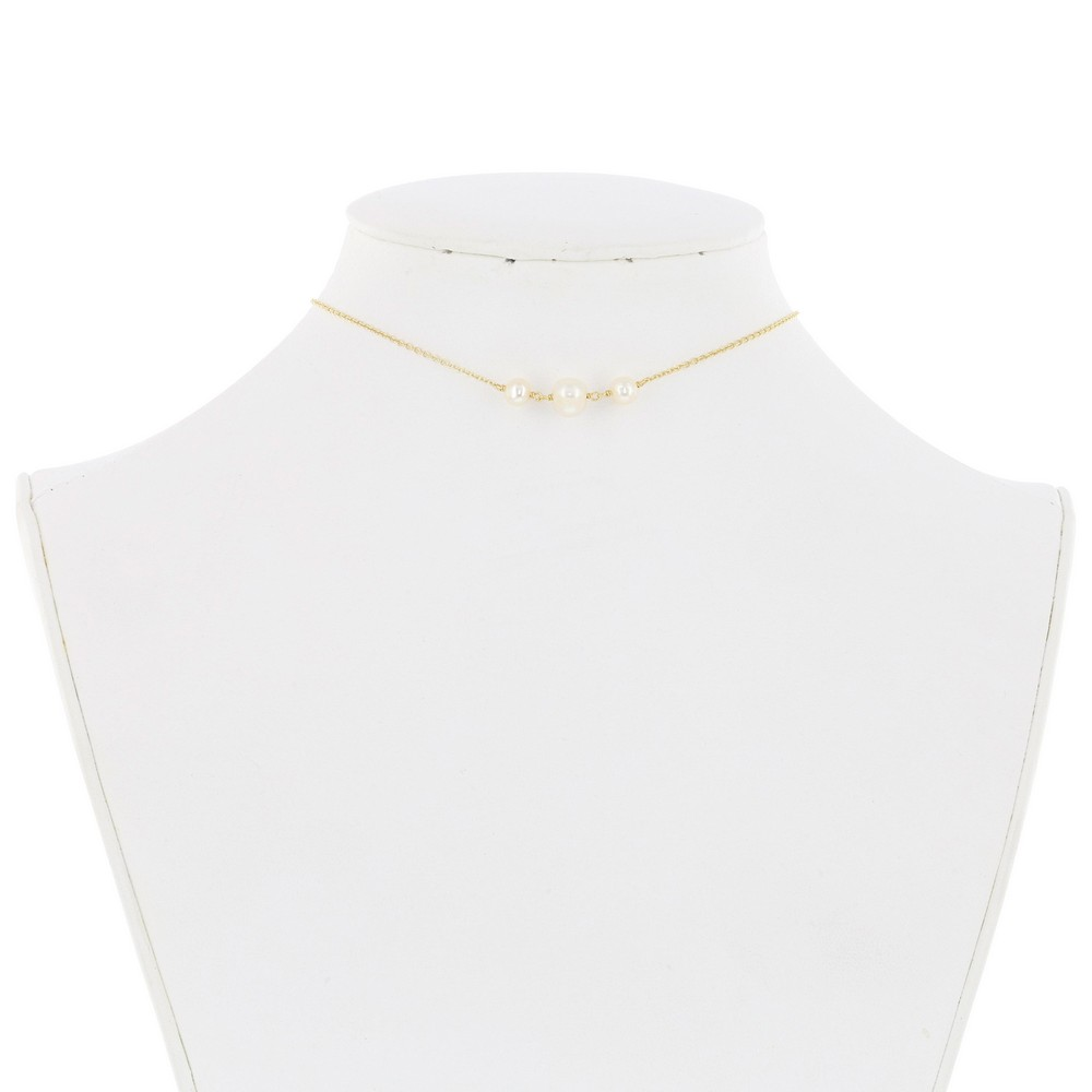 Sterling Silver Three Station Freshwater Pearls Choker - Gold Plated
